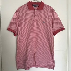 Salmon Pink White Striped Short Sleeve Polo Shirt